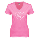 Next Level Ladies Junior Fit Deep V Pink Tee-Big in Heart