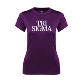 Ladies Syntrel Performance Purple Tee-Tri Sigma Stacked - Official