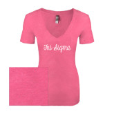 Next Level Ladies Vintage Pink Tri Blend V-Neck Tee-Curly Script Tri Sigma