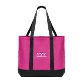 Tropical Pink/Dark Charcoal Day Tote-Greek Letters - One Color
