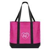 Tropical Pink/Dark Charcoal Day Tote-Big in Heart