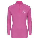 Ladies Syntrel Interlock Raspberry 1/4 Zip-Big in Heart