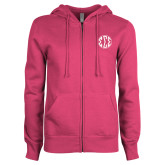 ENZA Ladies Fuchsia Fleece Full Zip Hoodie-Monogram in Circle