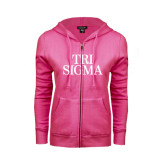 ENZA Ladies Fuchsia Fleece Full Zip Hoodie-Tri Sigma Stacked - Official