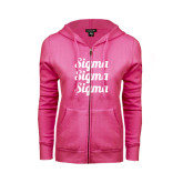 ENZA Ladies Fuchsia Fleece Full Zip Hoodie-Scripted Sigma Sigma Sigma Stacked