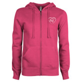ENZA Ladies Fuchsia Fleece Full Zip Hoodie-Big in Heart