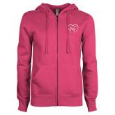 ENZA Ladies Fuchsia Fleece Full Zip Hoodie-Big in Heart