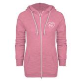 ENZA Ladies Hot Pink Marled Full Zip Hoodie-Big in Heart