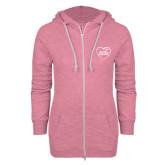 ENZA Ladies Hot Pink Marled Full Zip Hoodie-Little in Heart