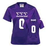 Ladies Purple Replica Football Jersey-Personalized Greek Letters