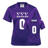 Ladies Purple Replica Football Jersey-Personalized Greek Letters