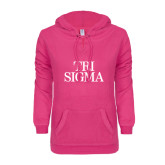 ENZA Ladies Hot Pink V Notch Raw Edge Fleece Hoodie-Tri Sigma Stacked - Official