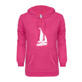 ENZA Ladies Hot Pink V Notch Raw Edge Fleece Hoodie-Sailboat