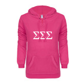 ENZA Ladies Hot Pink V Notch Raw Edge Fleece Hoodie-Greek Letters - One Color