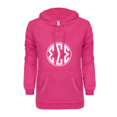 ENZA Ladies Hot Pink V Notch Raw Edge Fleece Hoodie-Monogram in Circle