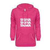 ENZA Ladies Hot Pink V Notch Raw Edge Fleece Hoodie-Stacked Sigma Sigma Sigma