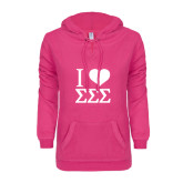 ENZA Ladies Hot Pink V Notch Raw Edge Fleece Hoodie-I Heart