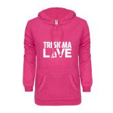 ENZA Ladies Hot Pink V Notch Raw Edge Fleece Hoodie-Tri Sigma Love