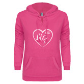 ENZA Ladies Hot Pink V Notch Raw Edge Fleece Hoodie-Big in Heart