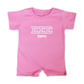 Bubble Gum Pink Infant Romper-Legacy Greek Style Ltrs