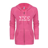 ENZA Ladies Hot Pink Light Weight Fleece Full Zip Hoodie-Greek Letters - One Color