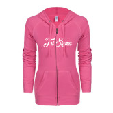 ENZA Ladies Hot Pink Light Weight Fleece Full Zip Hoodie-Fancy Script Tri Sigma