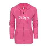 ENZA Ladies Hot Pink Light Weight Fleece Full Zip Hoodie-Ink Script Tri Sigma