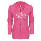 ENZA Ladies Hot Pink Light Weight Fleece Full Zip Hoodie-Big in Heart