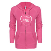 ENZA Ladies Hot Pink Light Weight Fleece Full Zip Hoodie-Little in Heart