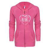 ENZA Ladies Hot Pink Light Weight Fleece Full Zip Hoodie-Little in Heart