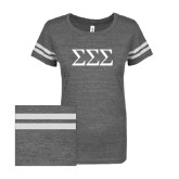 ENZA Ladies Dark Heather/White Vintage Triblend Football Tee-Greek Letters - One Color