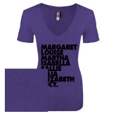 Next Level Ladies Vintage Purple Rush Tri Blend V Neck Tee-Founders List