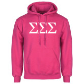 Fuchsia Fleece Hoodie-Greek Letters - One Color