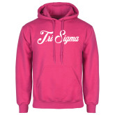 Fuchsia Fleece Hoodie-Fancy Script Tri Sigma