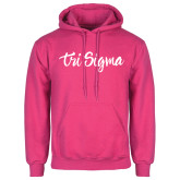 Fuchsia Fleece Hoodie-Ink Script Tri Sigma