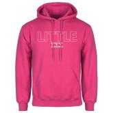 Fuchsia Fleece Hoodie-Block Letters w/ Pattern Little