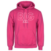 Fuchsia Fleece Hoodie-Block Letters w/ Pattern Big