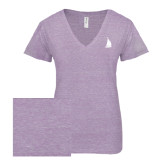 ENZA Ladies Violet Melange V Neck Tee-Sailboat