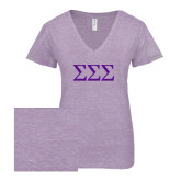 ENZA Ladies Violet Melange V Neck Tee-Greek Letters - One Color