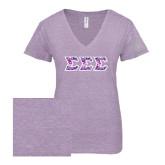 ENZA Ladies Violet Melange V Neck Tee-Greek Style Letters - Tri Sigma Pattern