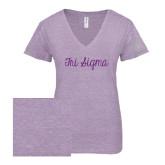 ENZA Ladies Violet Melange V Neck Tee-Curly Script Tri Sigma