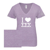 ENZA Ladies Violet Melange V Neck Tee-I Heart