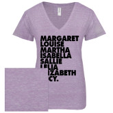 ENZA Ladies Violet Melange V Neck Tee-Founders List
