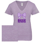 ENZA Ladies Violet Melange V Neck Tee-Biggie Bow