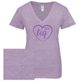 ENZA Ladies Violet Melange V Neck Tee-Big in Heart