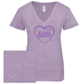 ENZA Ladies Violet Melange V Neck Tee-Little in Heart