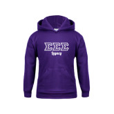 Youth Purple Fleece Hoodie-Legacy Greek Style Ltrs