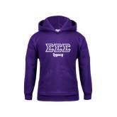 Youth Purple Fleece Hoodie-Legacy Greek Style Ltrs