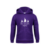 Youth Purple Fleece Hoodie-Legacy 3 Sailboats
