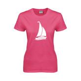 Ladies Fuchsia T Shirt-Sailboat